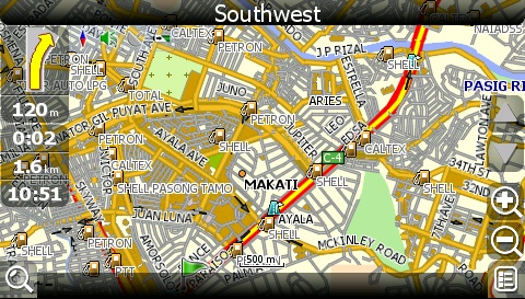 carNAVi 2010, 500m scale, GPS map view of Makati City, Metro Manila, Philippines