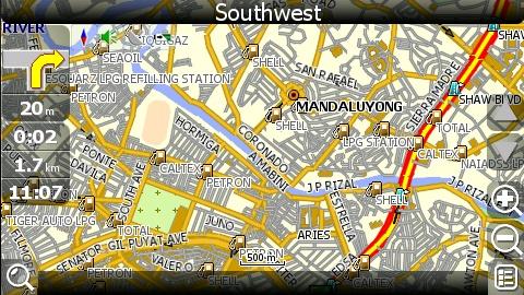 carNAVi 2010, GPS map view of Mandaluyong, Metro Manila, Philippines