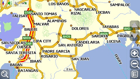 carNAVi 2010, south Luzon map